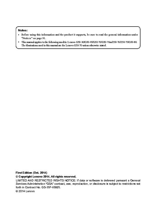 LENOVO G50-30 -45 -70 -70M Z50-70 -75 -80 MAINTENANCE
