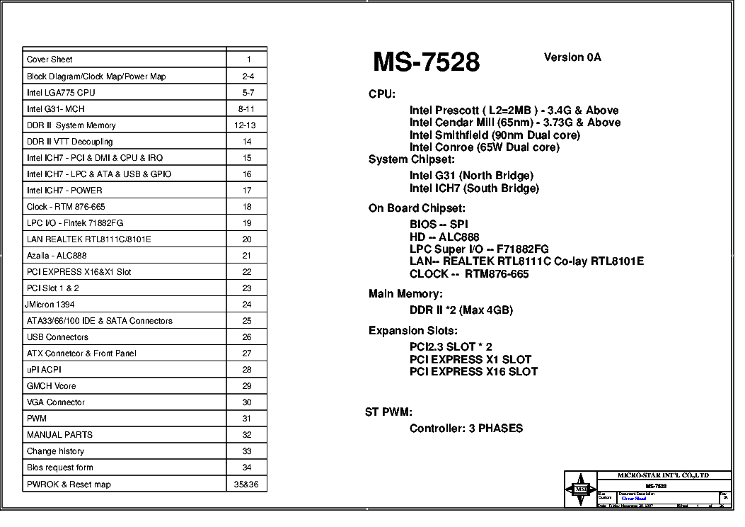 MSI MS-7528 REV.0A SCH service manual (1st page)