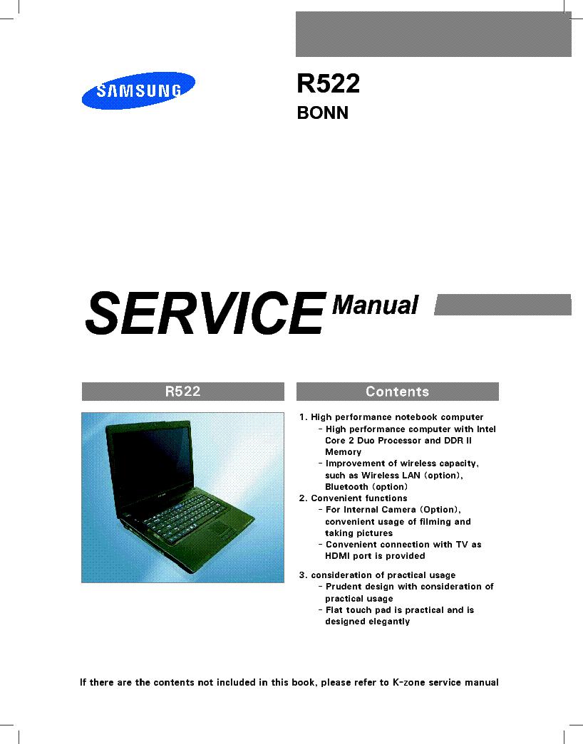 SAMSUNG R522 BONN service manual (1st page)