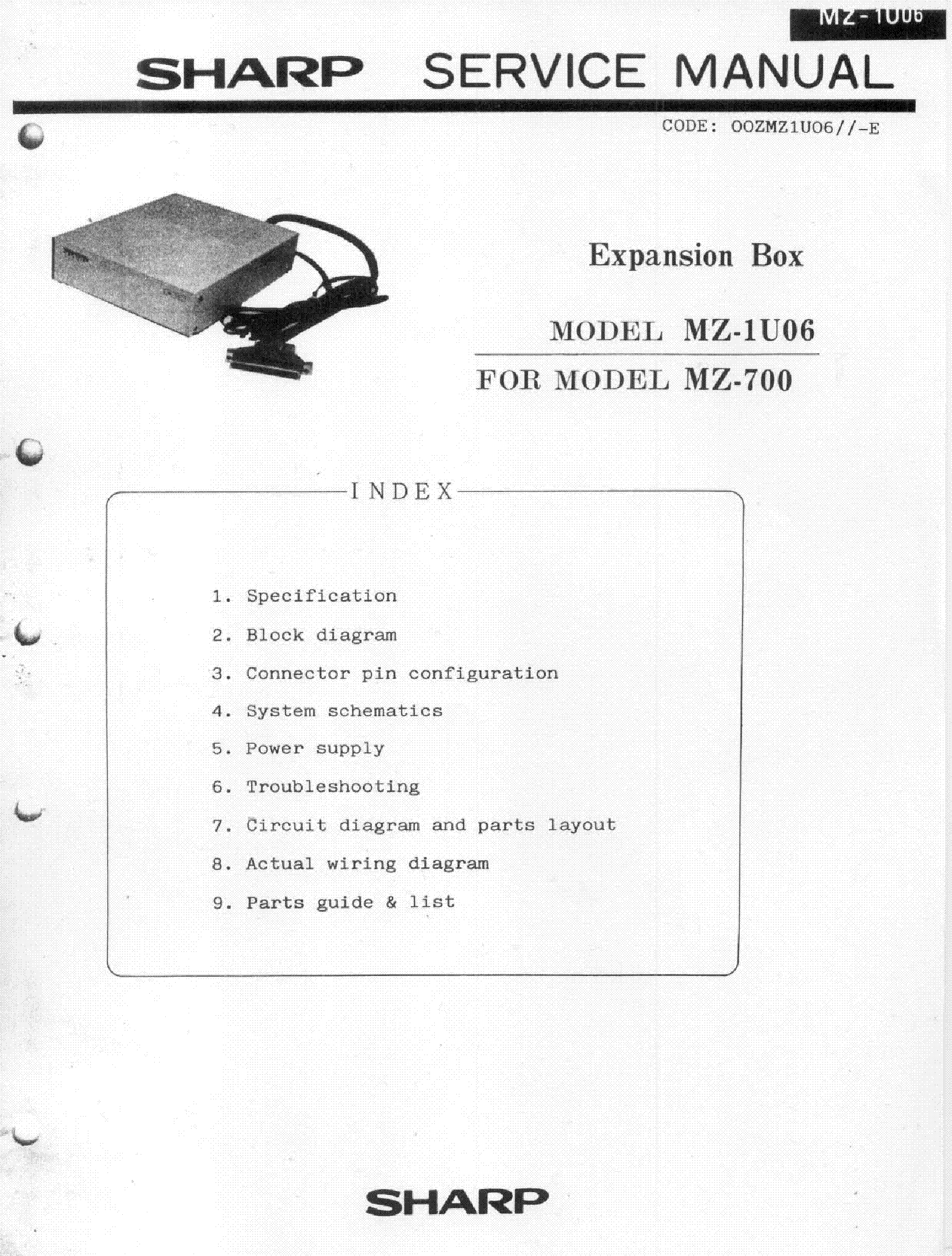 SHARP MZ-1U06 service manual (1st page)