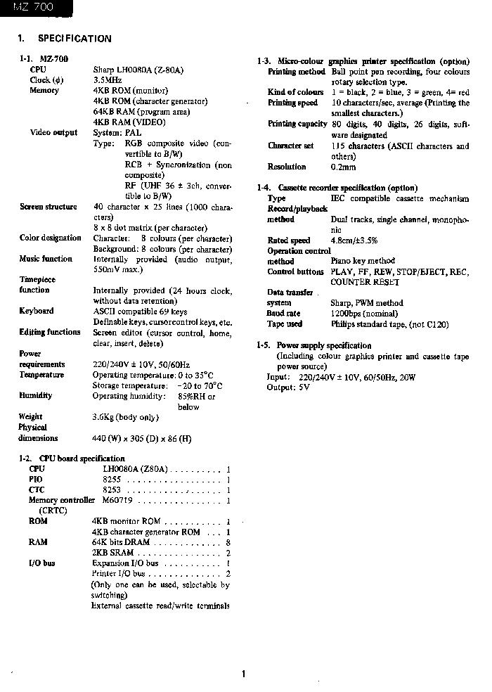 SHARP MZ-700 Service Manual download, schematics, eeprom, repair