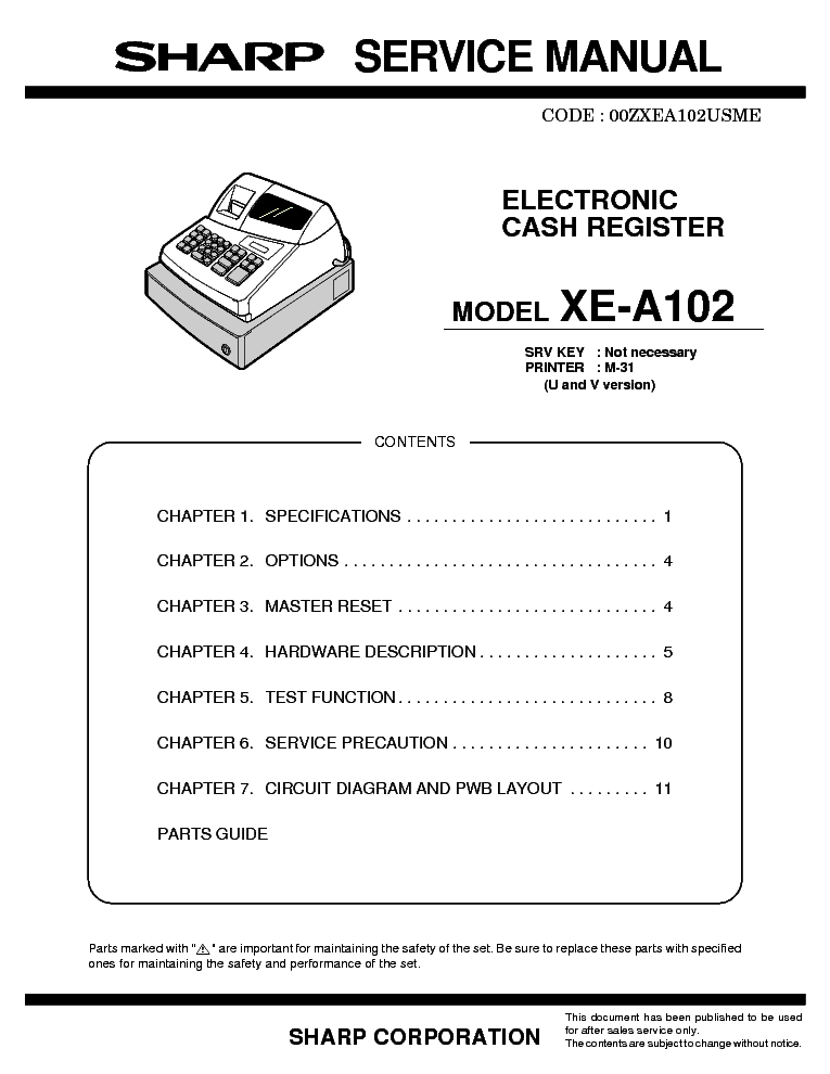 sharp xe a102 service manual download schematics eeprom repair rh elektrotanya com instruction manual for sharp xe-a102 instruction manual for sharp xe-a102 cash register