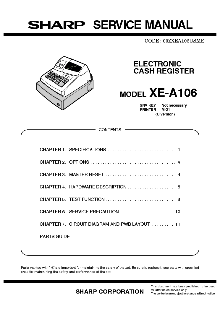sharp xe a106 service manual download schematics eeprom repair rh elektrotanya com Sharp XE-A106 Changing Tape Sharp XE-A106 Changing Tape