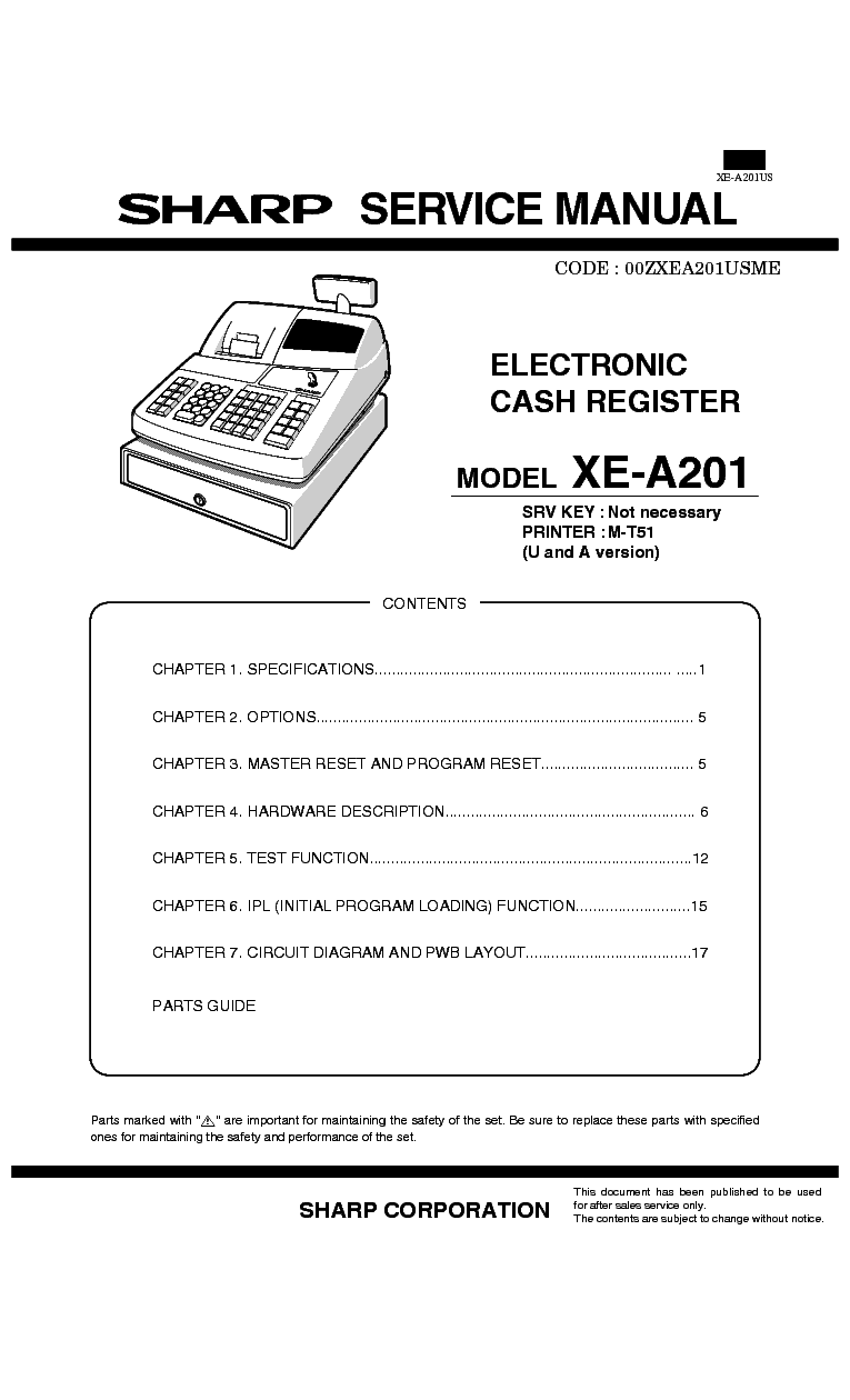 Related Manuals for Sharp XE-A106