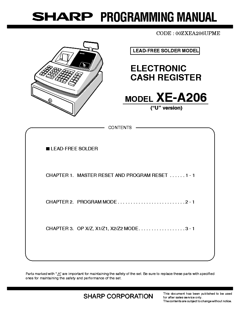 sharp xe a206 programming manual service manual download schematics rh elektrotanya com Operators Manual sharp electronic cash register xe-a206 manual