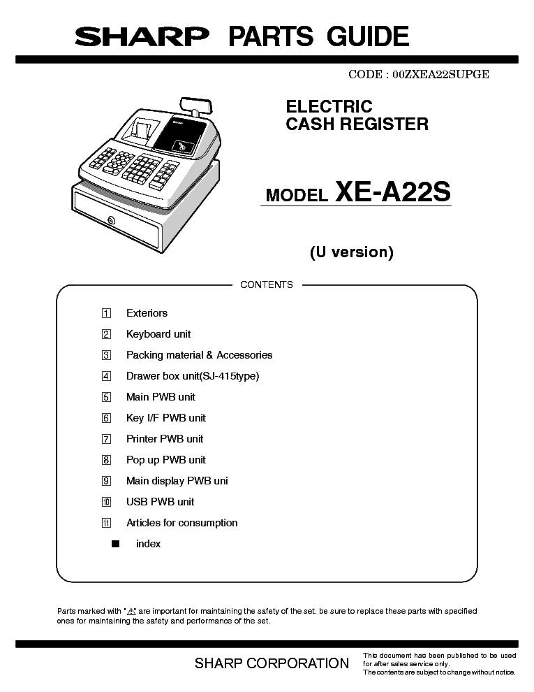 sharp xe a22s parts service manual download schematics eeprom rh elektrotanya com sharp xe-a22s manual sharp xe-a22s manual