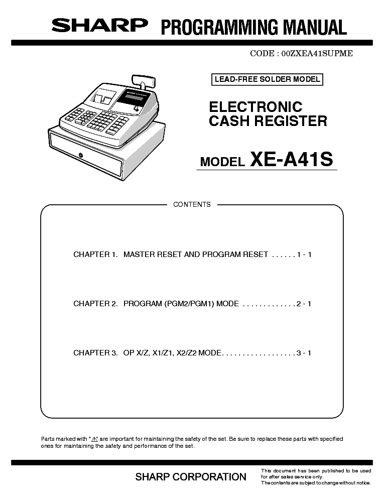 sharp xe a41s programming manual service manual download schematics rh elektrotanya com Sharp ER A347 Sharp Cash Register Help Line