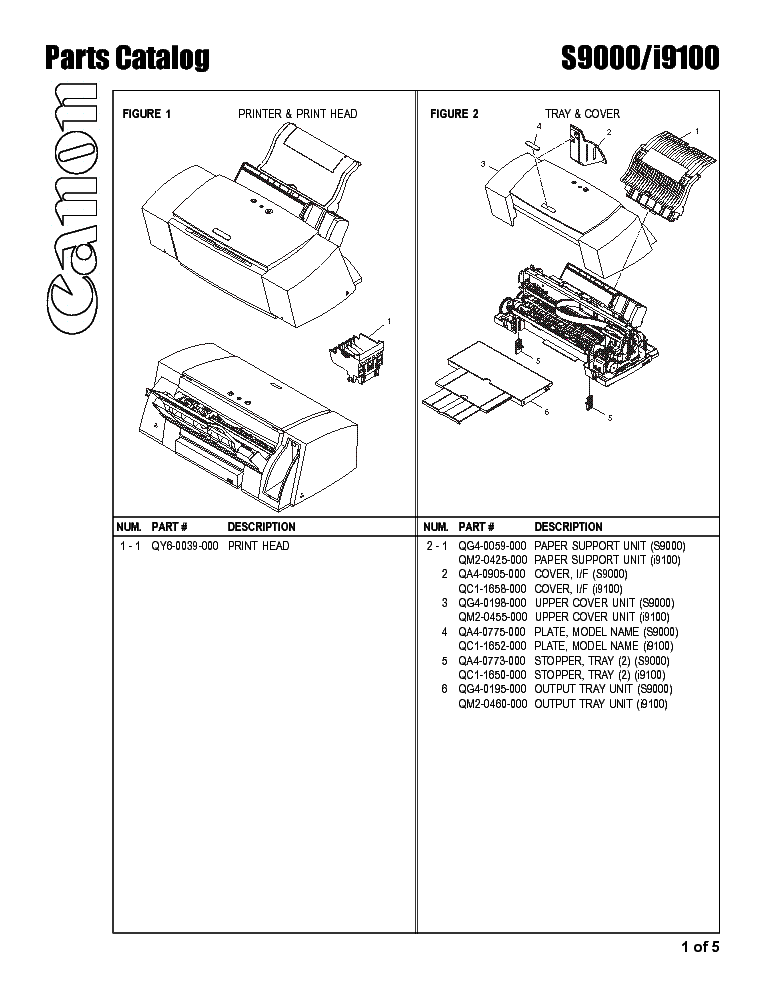 Canon I9100 S9000 Parts Service Manual Download