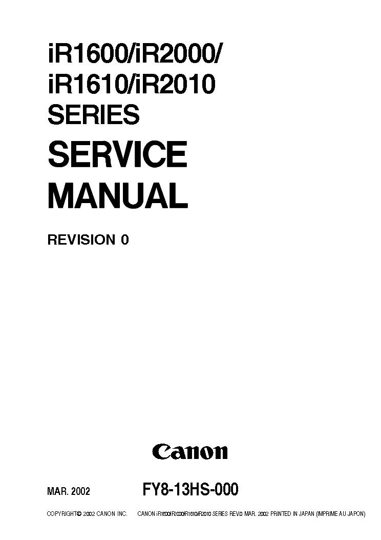 canon ir1600 ir2000 imagerunner copier service manual parts catalog