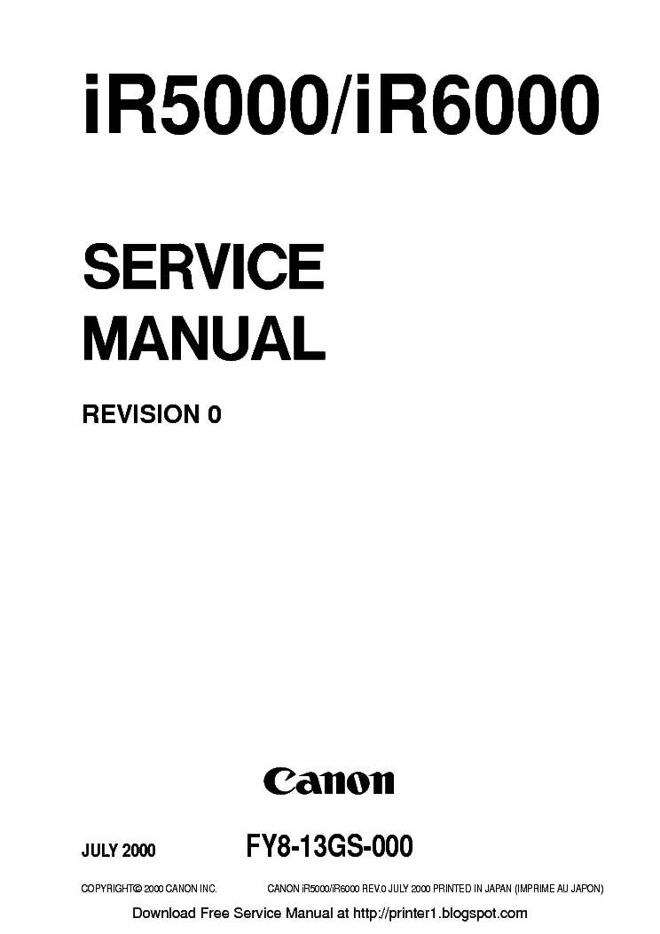 Canon ir5000 ir6000 sm service manual download, schematics, eeprom.