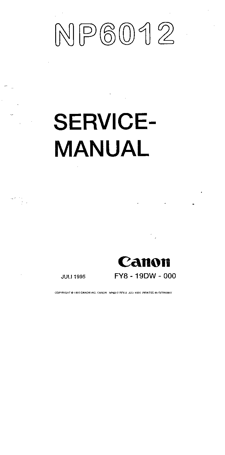 Canon np6012-6212pc service manual by download #153687 for sale.