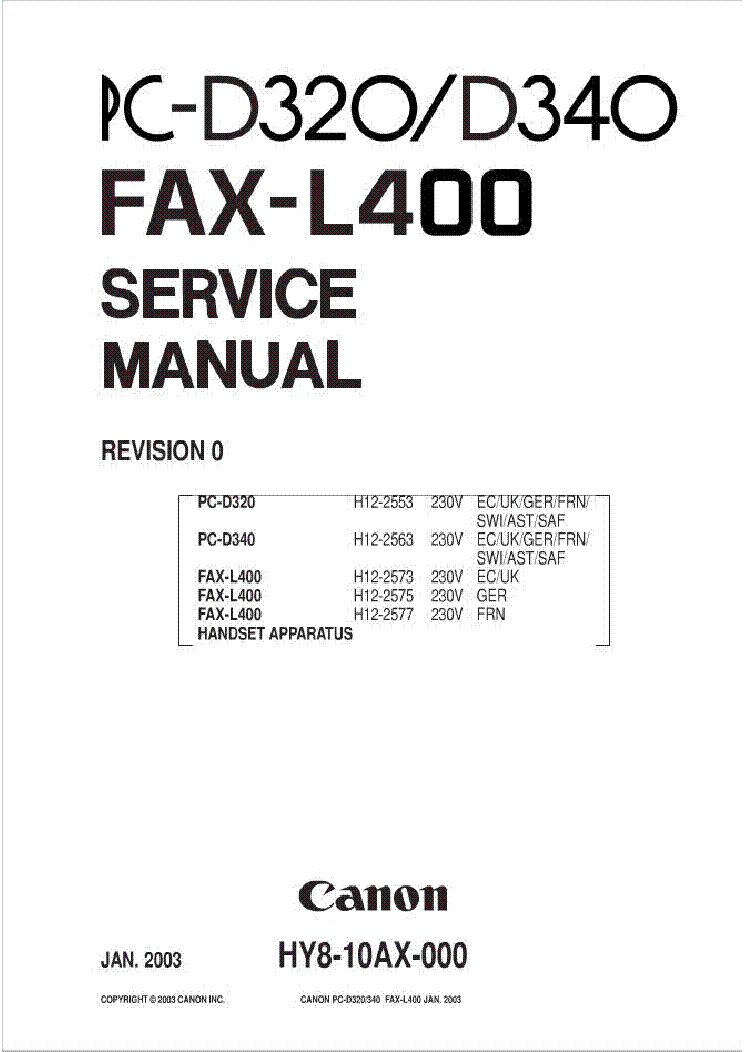 CANON PC-D320 340 FAX L400 SM service manual