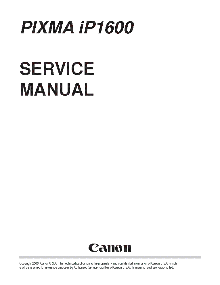 Canon Pixma iP1200 1600 2200 Service Manual / Repair Guide