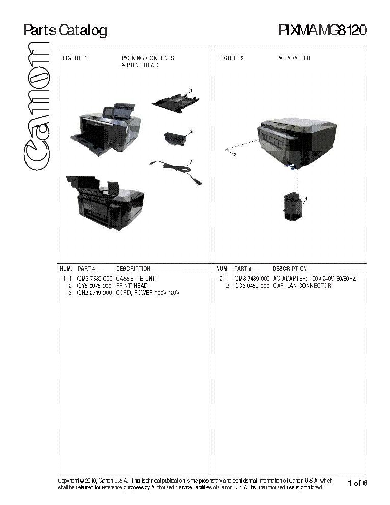 Canon Pixma Mg8120 Parts Service Manual Download  Schematics  Eeprom  Repair Info For