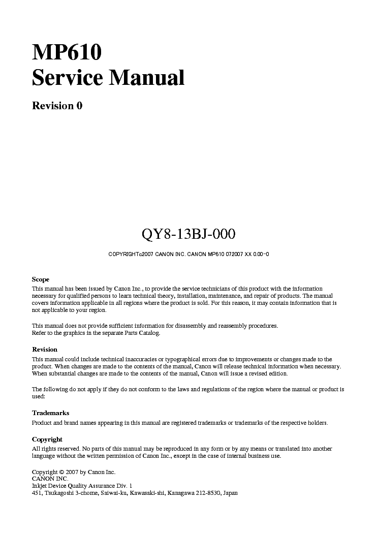 CANON PIXMA MP610 service manual