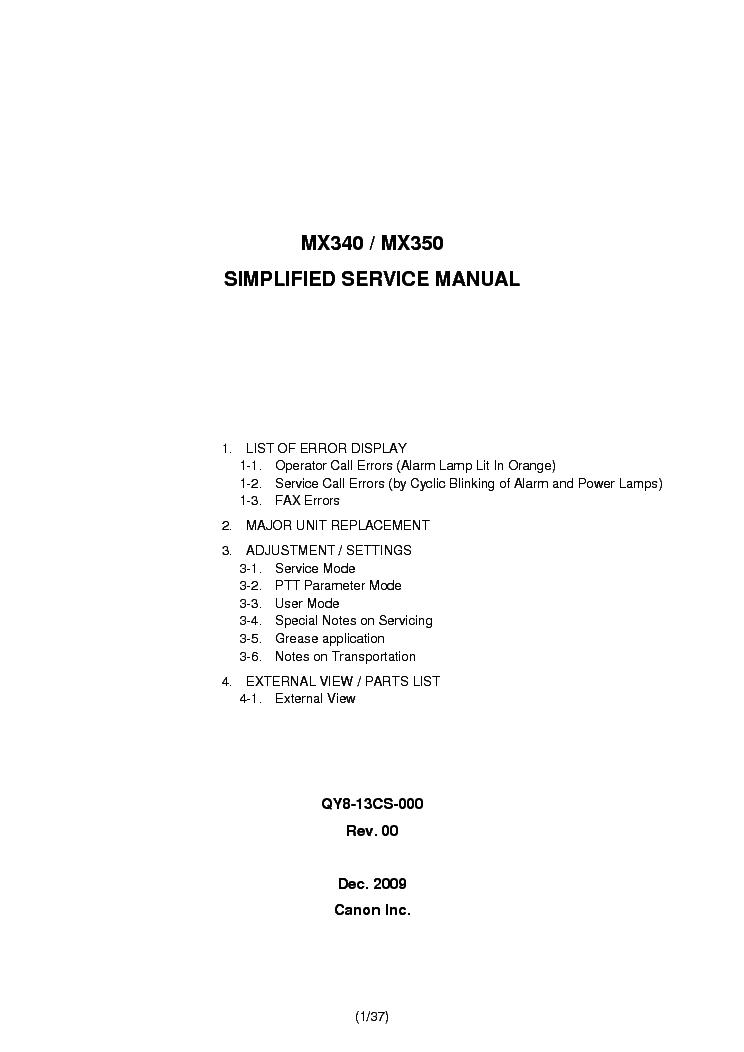 Canon Pixma Mx340 Mx350 Service Manual Download