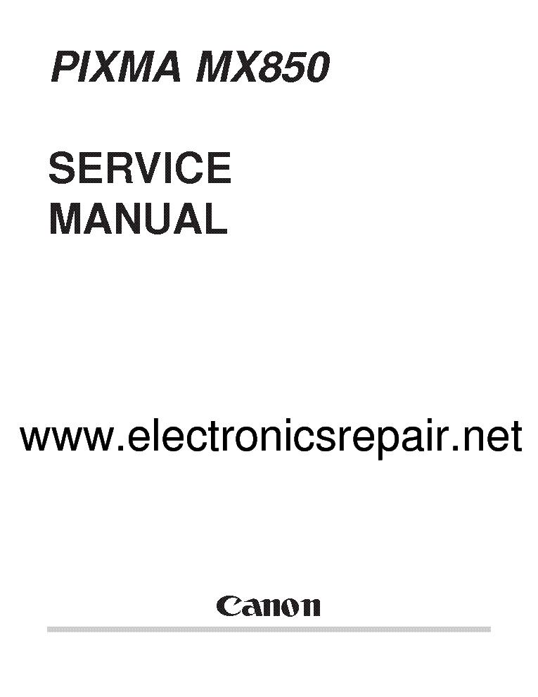 Canon pixma mx850 service manual download, schematics, eeprom.