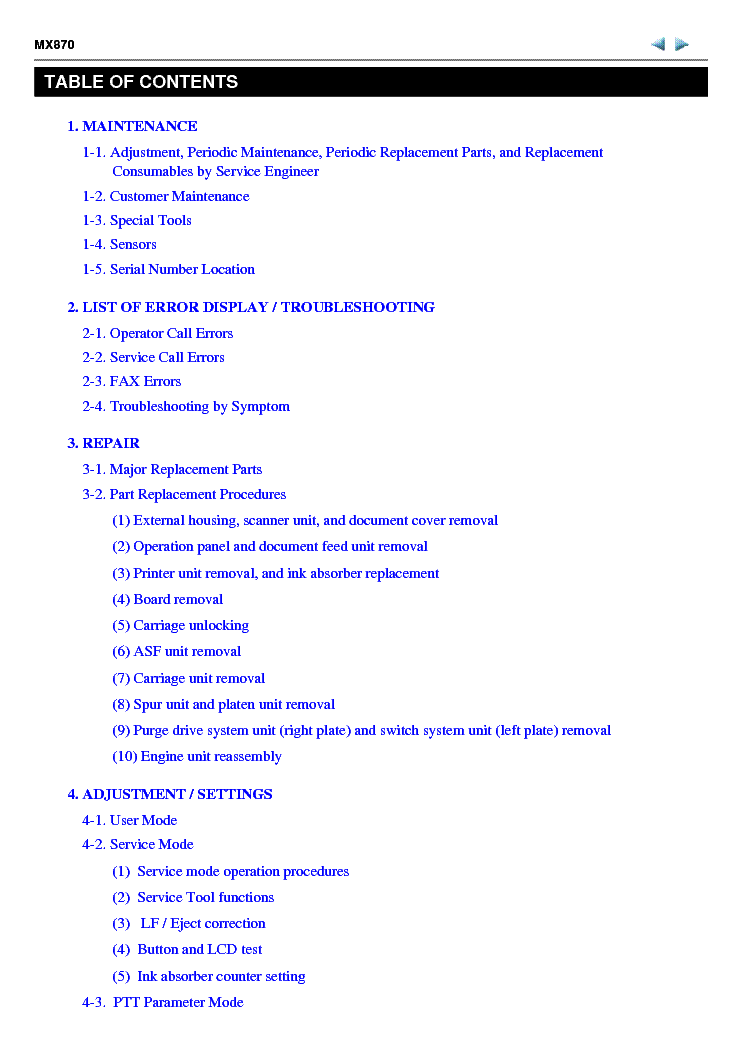 CANON PIXMA MX870 SM Service Manual download, schematics