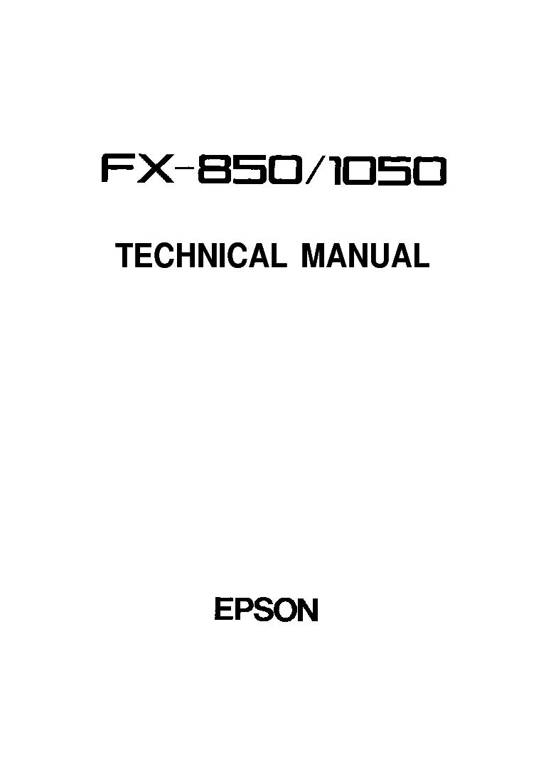 EPSON FX-850 FX-1050 TECHNICA MANUAL service manual (1st page)