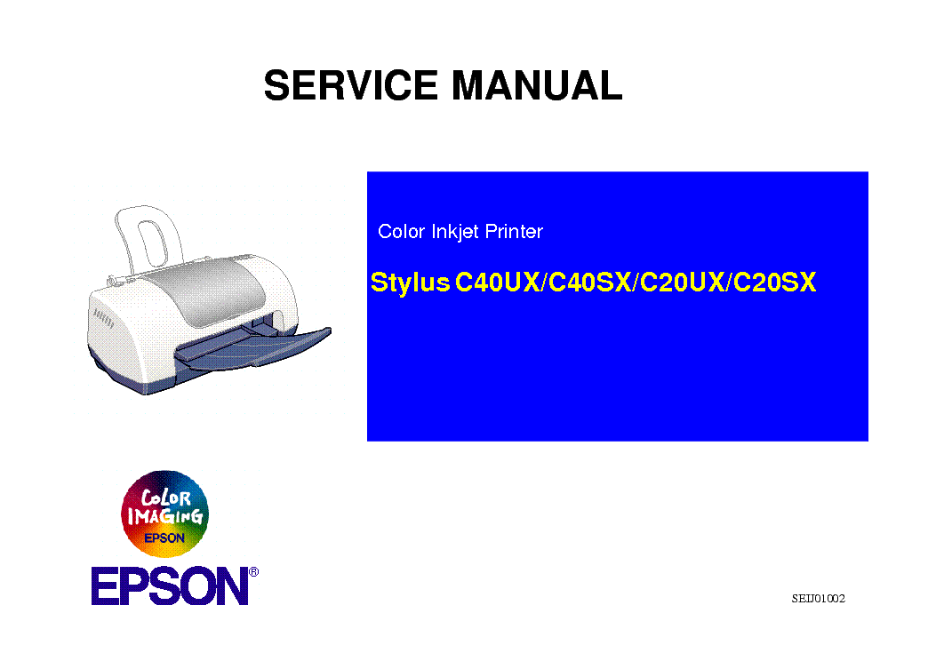 epson stylus color stylus c20ux c20sx c40ux c40sx sm service manual rh elektrotanya com Epson Stylus Photo 2400 Maintenance Epson Stylus CX5400 Printer