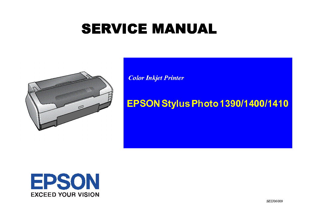 EPSON STYLUS PHOTO 1390 1400 1410 Service Manual download