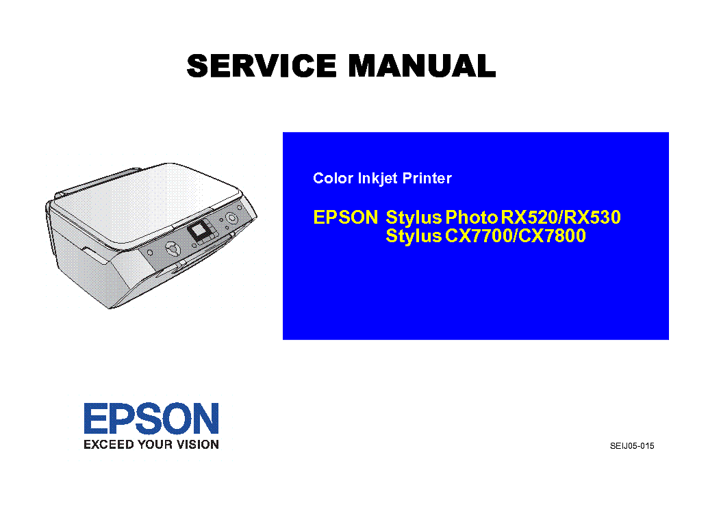 EPSON STYLUS PHOTO RX520 530 CX7700 7800 service manual