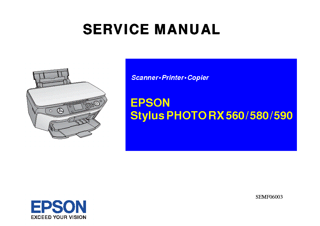 EPSON STYLUS PHOTO RX560 580 590 service manual