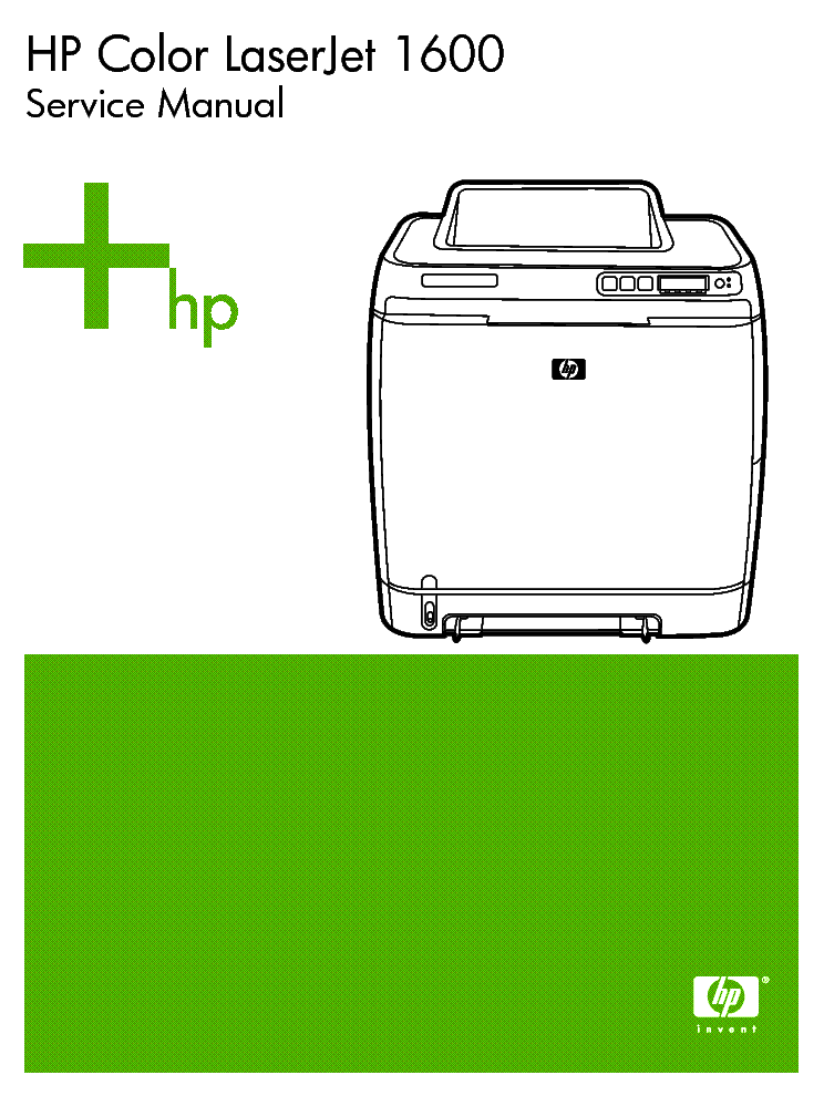 Hp color laserjet 1600 service manual.