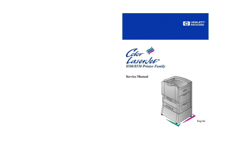 HP LASERJET 8500, 8550 SERVICE MANUAL service manual (1st page)
