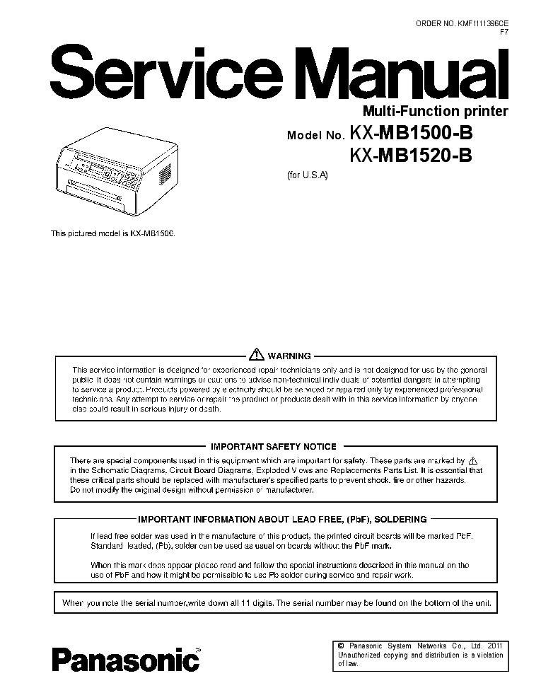 Panasonic dp 1520 service manual – free download, herunterladen.
