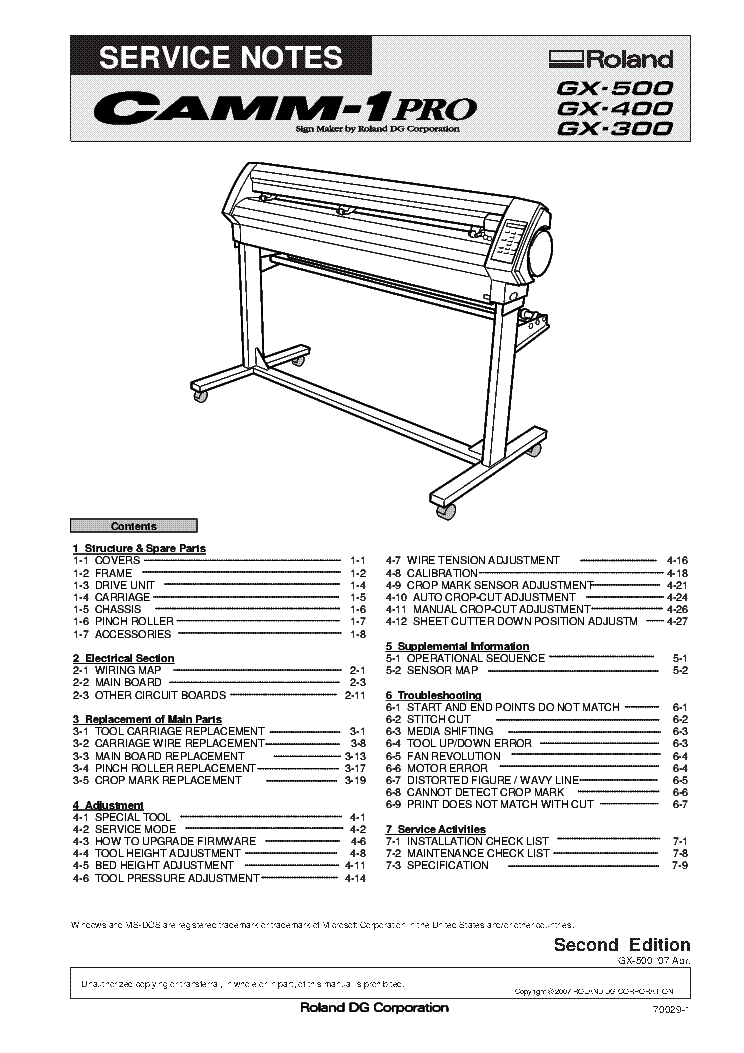 ROLAND GX-500 GX-400 GX-300 247051345 PLOTTER Service Manual