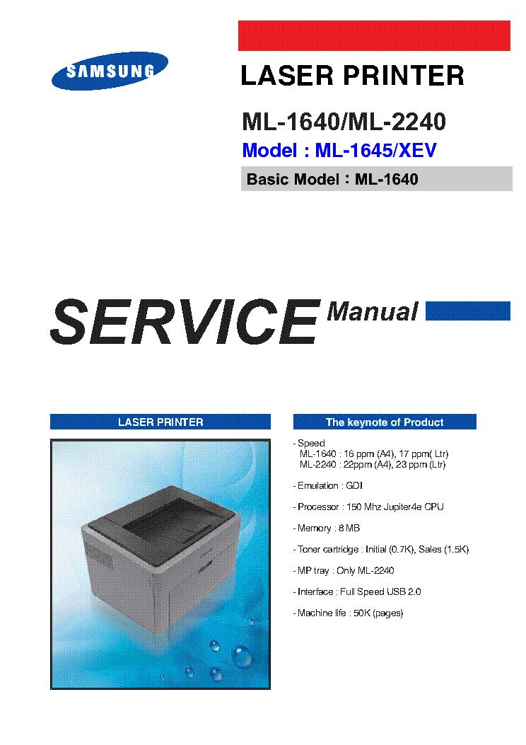samsung ml 1640 ml 2240 ml 1645 xev laser printer service repair manual