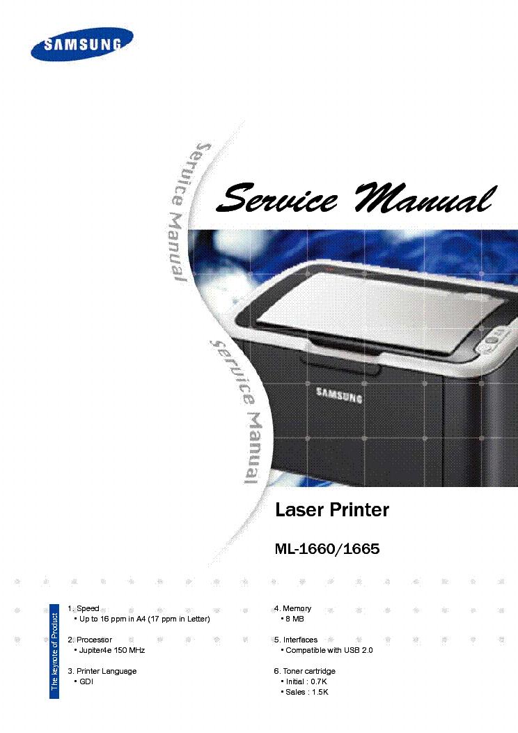 Samsung ml-1660 / ml-1665 laser printer service repair.
