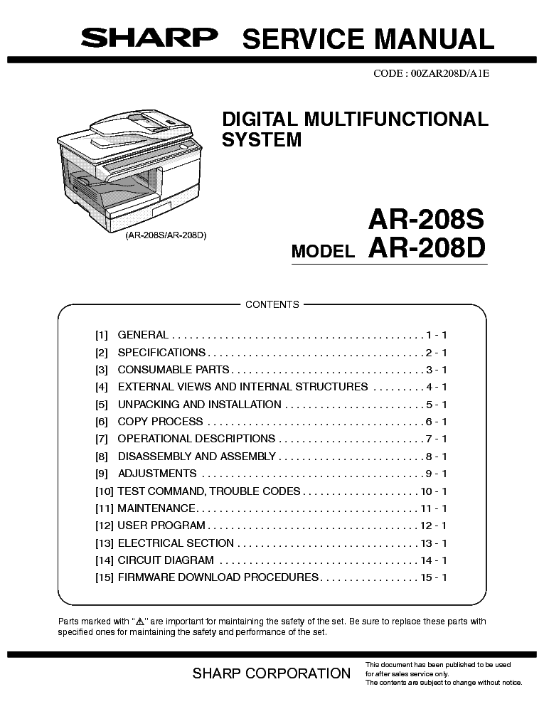 SHARP       AR   208S    AR   208D Service    Manual    download     schematics     eeprom  repair info for electronics