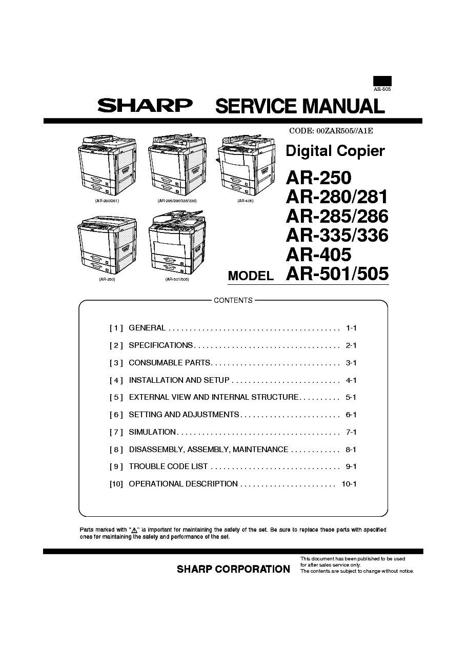 SHARP    AR   250280281285286335336405501505 SPANISH
