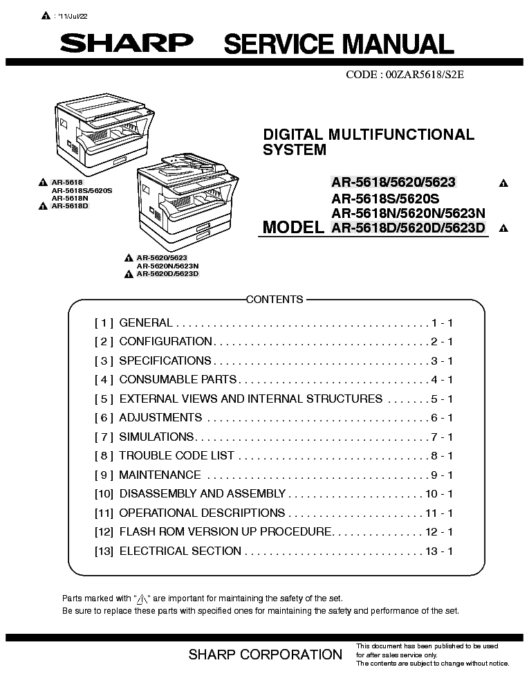SHARP AR-5618 5620 5623 service manual