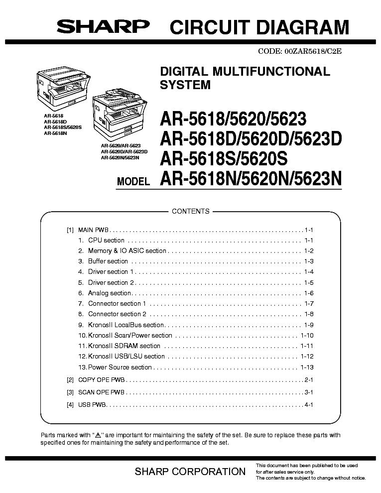 SHARP    AR5618 5620 5623 CIRCUIT    DIAGRAM    Service    Manual
