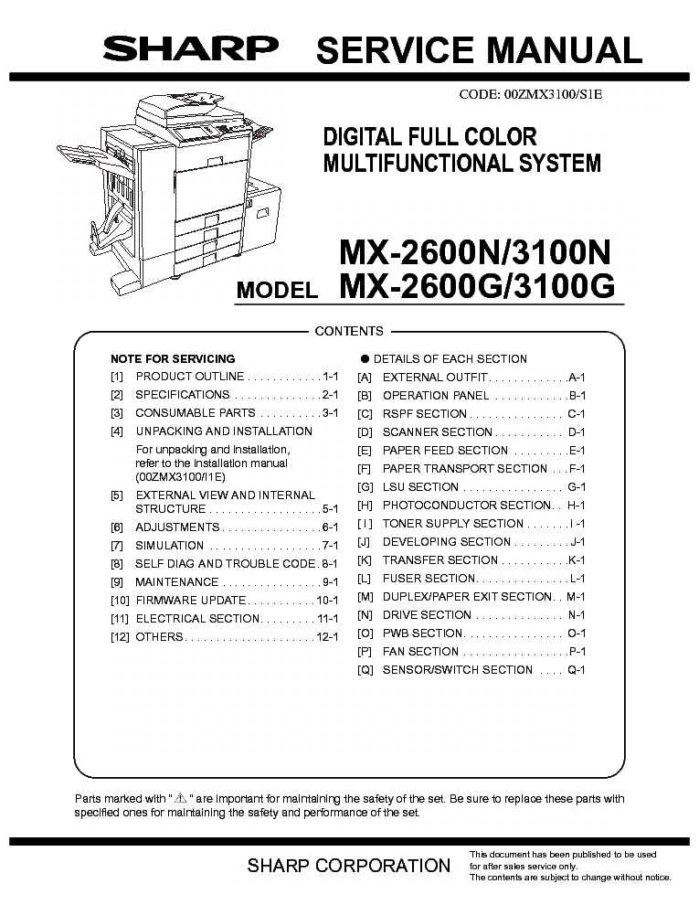 sharp mx 2600 mx 3100 service manual download schematics eeprom rh elektrotanya com Sharp MX 2600N Brochure Sharp MX 2600N DefaultPassword