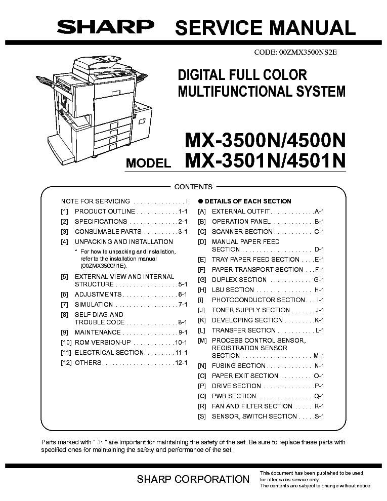 sharp mx 2600n service manual