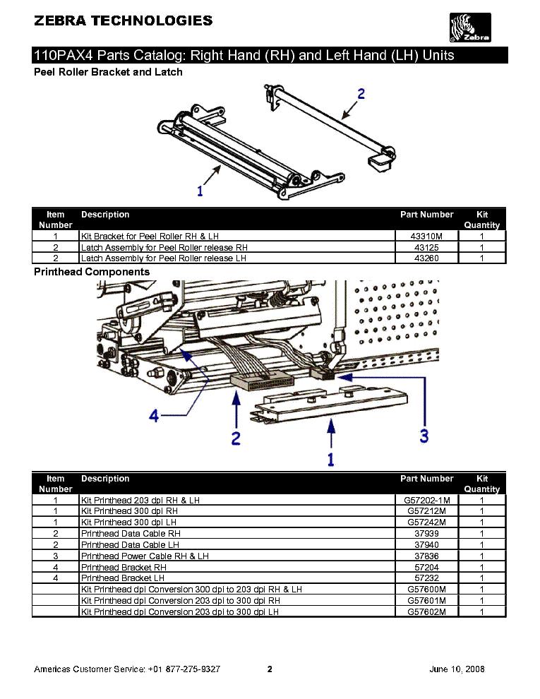 ZEBRA 110PAX4 PARTS CATALOG Service Manual download