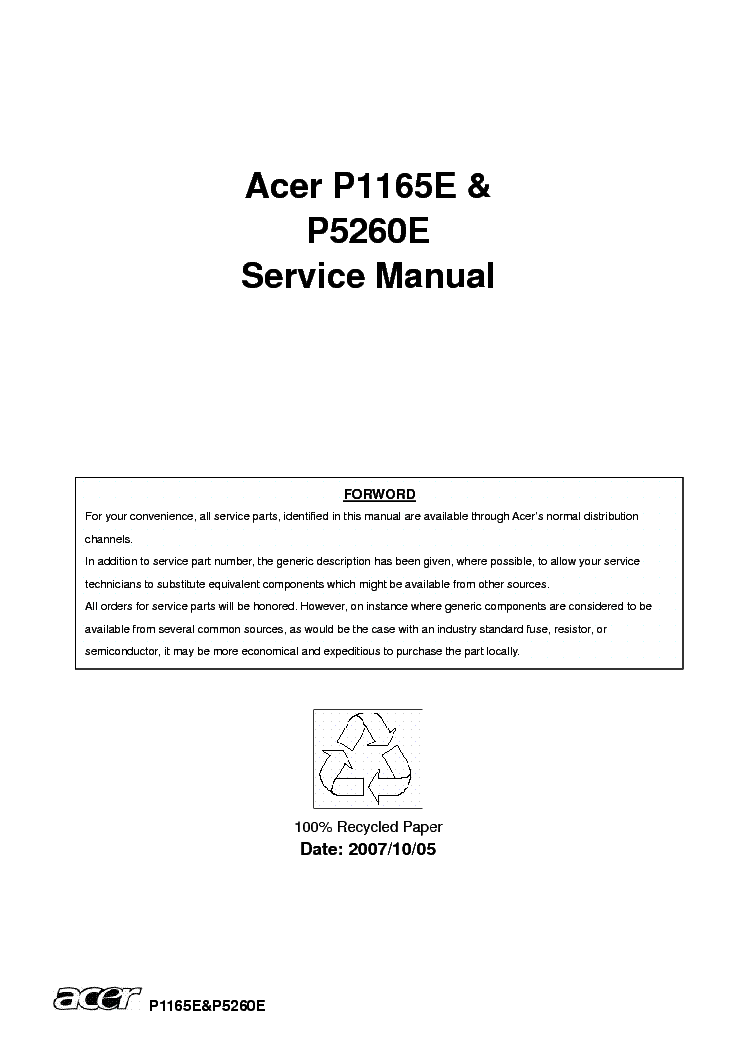 acer p1165 p5260 sm service manual download schematics eeprom rh elektrotanya com Customer Service Books HP Owner Manuals