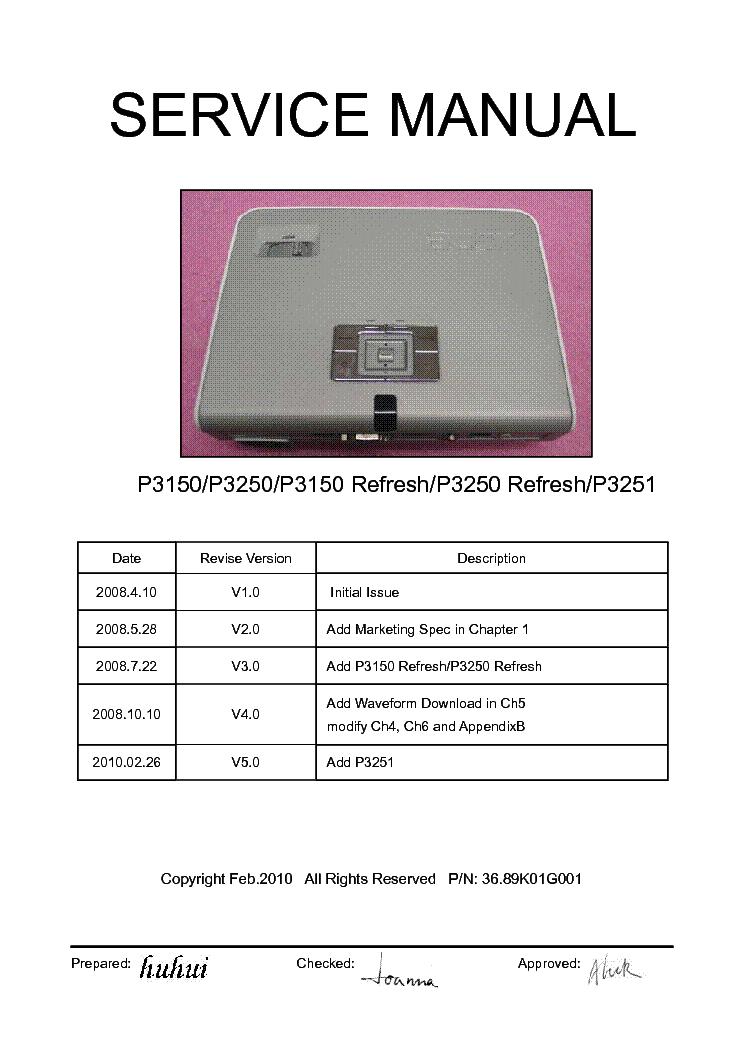 acer p3250 repair manual