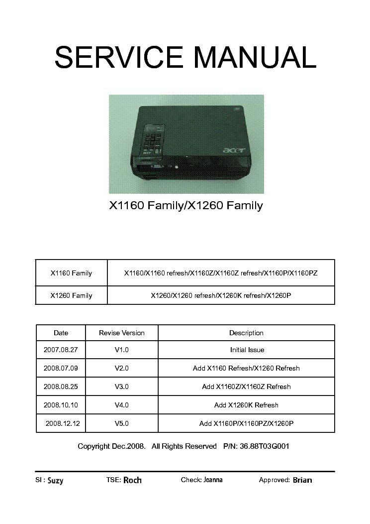 acer x1160 x1260 family sm service manual download schematics rh elektrotanya com acer x1160z service manual Acer Background