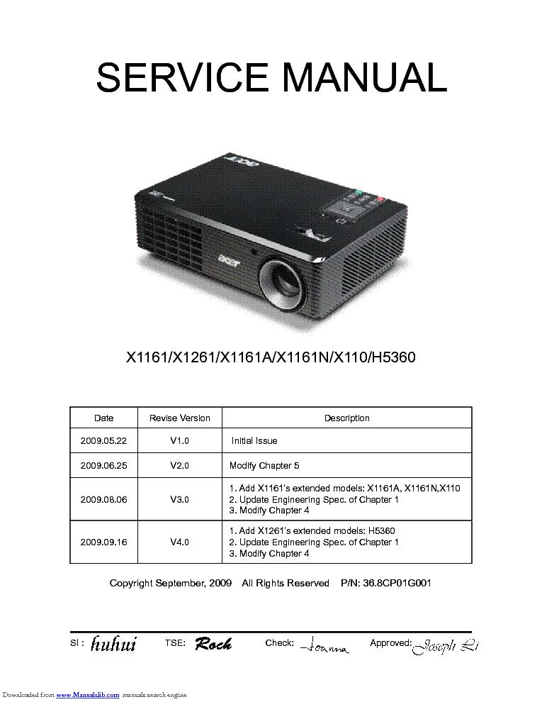 acer x1161 a n x1261 x110 h5360 sm service manual download rh elektrotanya com Acer Projector Back Acer Projector Back
