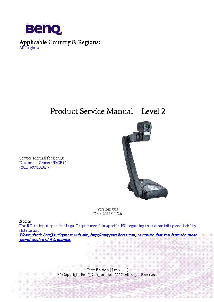 BENQ MX615 VER 00A LEVEL3 Service Manual download