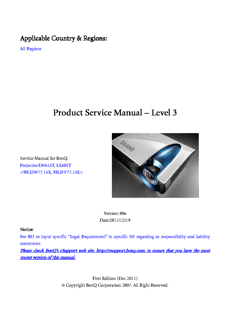 benq ms510 ver00b level2 service manual download, schematics, eeprom  benq