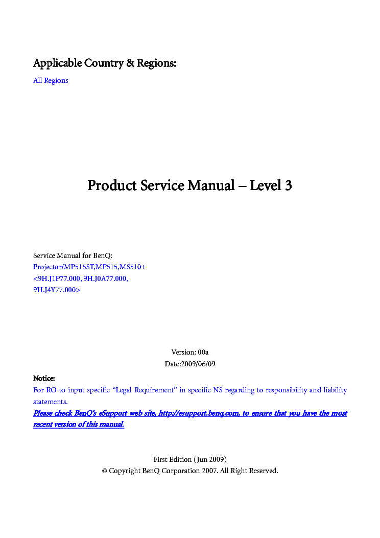 benq mp515st mp515 ms510 ver00a level3 service manual download rh elektrotanya com