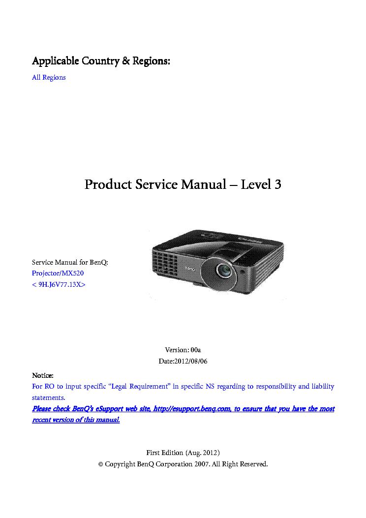 benq mx520 ver 00a level3 service manual download schematics rh elektrotanya com Facility Manuals benq service manual projector