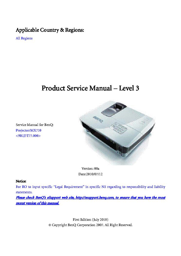 benq w1060 ver 00 level2 service manual download, schematics, eeprom  benq