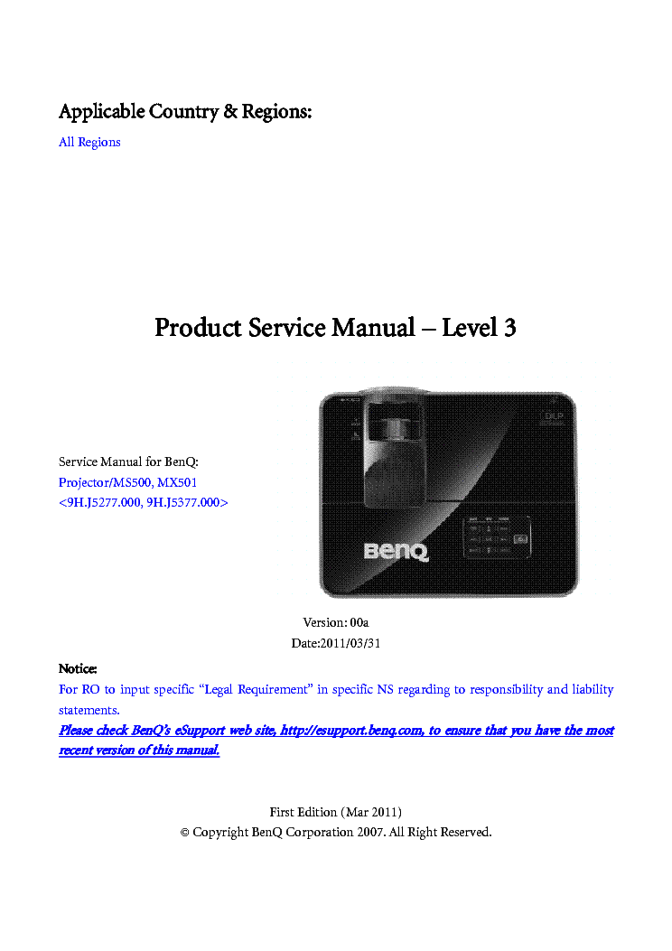 Benq projector ms500-mx501-sm service manual download, schematics.
